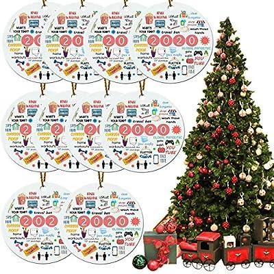 JISON21 2020 Christmas Ornament,Remember 2020 Christmas Ornament Quarantine,Covid_Christmas 2020 Ornament Decorations for Christmas Tree/Door/Window/Wall (10 PCS)