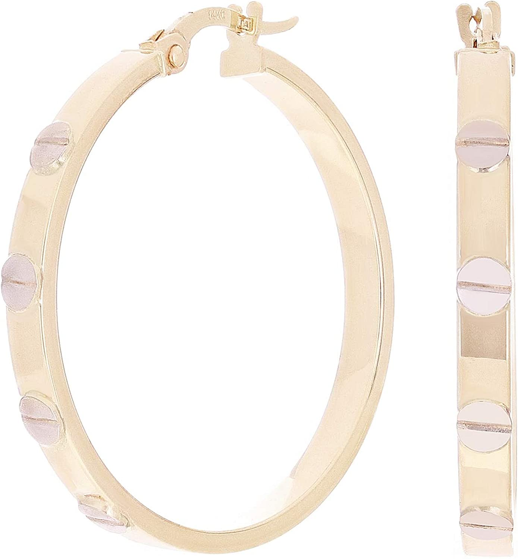 Italian 14k Yellow & White Gold Love Screw Design Medium Hollow Hoop Earrings