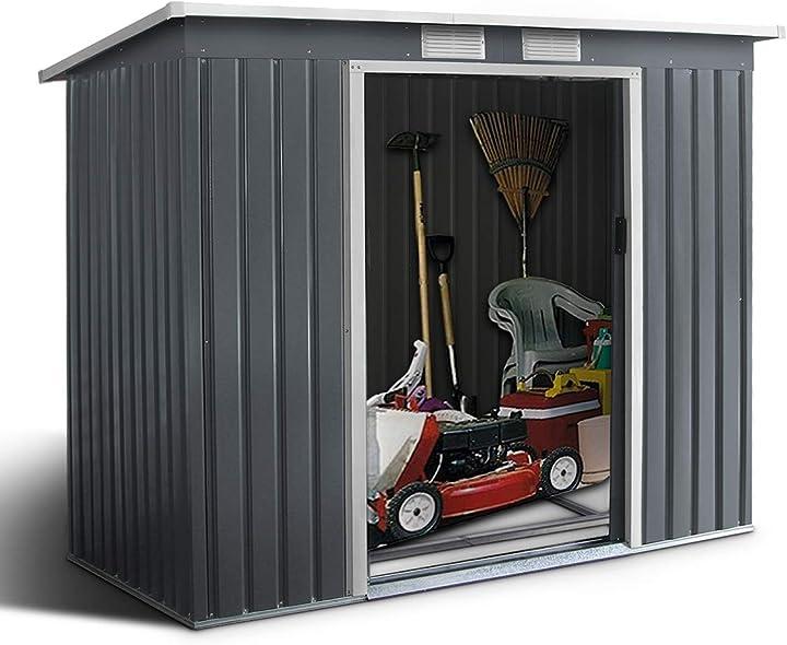 Ripostiglio da esterno goplus armadio da giardino box casetta in acciao e zinco 213x173x130cm grigio HU4493HS+IT