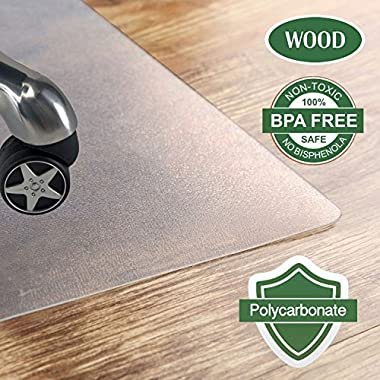 Polycarbonate Office Chair mat for hardwood floor, Floor mat for office chair(rolling chairs)-Desk Mat&Office mat for hardwood floor-Sturdy&Durable,Immediately Flat When Taken Out of the Box:36 x48