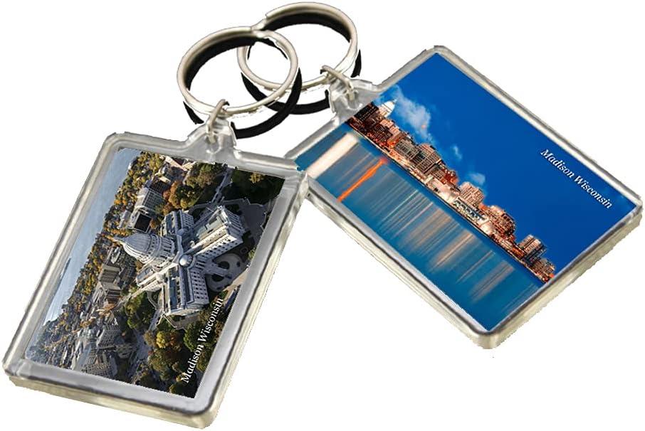 KR039 Madison Wisconsin City Keychain United States Travel Photo Keyring