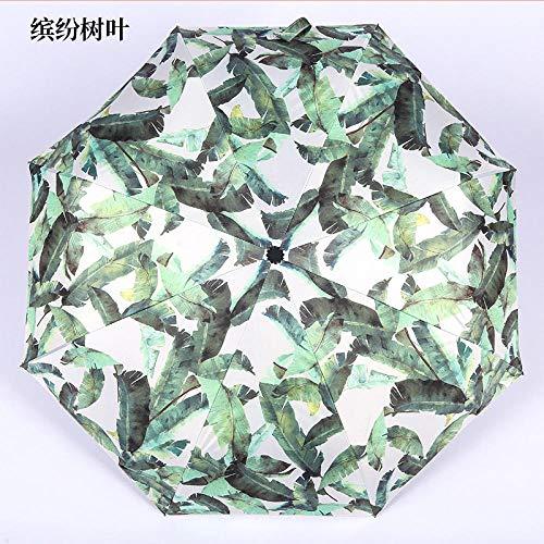 Taschenschirm Vinyl Tri-Folding Bone Vollautomatischer Regenschirm Sonnenschutz Sonnenschirm Männliche und weibliche Studenten Regenschirm Flying Plantain