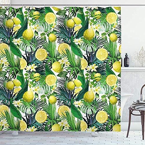 ASDAH natuur douchegordijn tropische planten met grote groenblijvende blad citroen Botany Palm Jungle grafische doek stof badkamer Decor Set met haken bos groen 66 * 72in