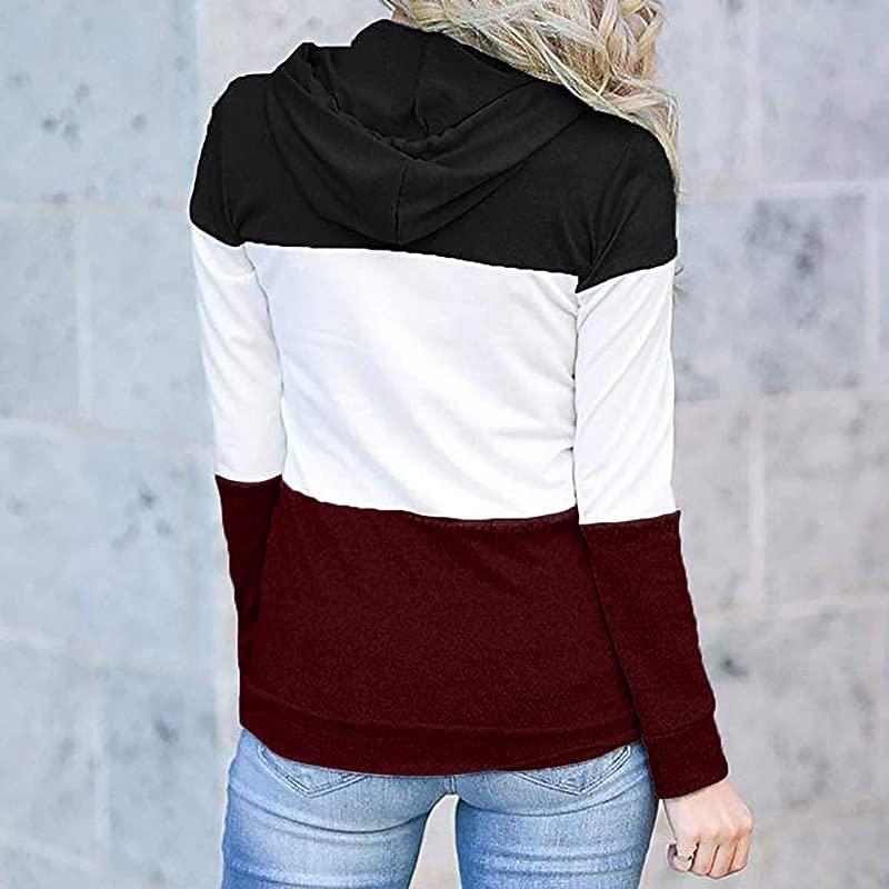 RoDeke Women Fashion Long Sleeve Loose Casual Stripe Color Block Pullover Top Hooded Sweatshirts