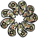 barudan golf 9pcs Green CAMO Golf Iron Covers Club Headcovers Set Leather Well Made for Taylormade M2 M7,Titleist 917,Callaway Epic Iron 4 5 6 7 8 9 Aw Sw Pw Wedge Oversized