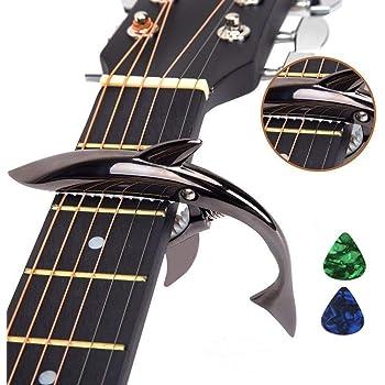 Imelod亜鉛合金ギターカポサメカーポ、アコースティック&エレキギター用、手触りがよく、フレットなしのバズそして耐久性のある(ブラック)
