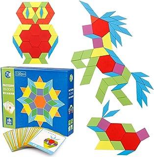Mumoo Bear Wooden Pattern Blocks Puzzle Kids Toys Jigsaw Shapes Dissection 130 Blocks 24 Designs