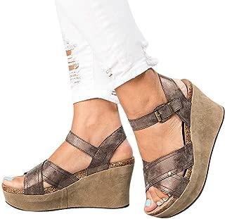 Women Sandals Clearance Sale!melupa Ladies Summer Fashion Sandals Buckle Strap Wedges Retro Peep Toe Sandals