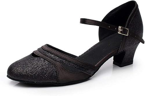 Hhor Paillettes pour Femmes - Bout Rond - Chaussures de Danse Latine Salsa Tango thé Samba Modernes Chaussures de Jazz, Sandales à Talons Hauts, roseHeeled6cm-UK5   EU37   Our38