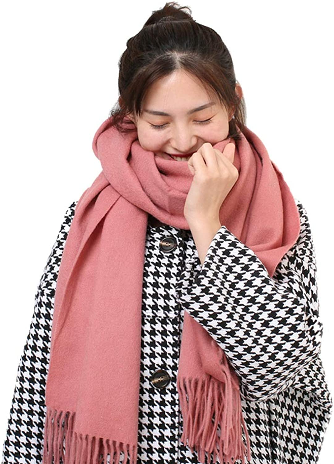Hong Tai Yang Women's Scarves Solid color Wool Scarf Pink Wild Autumn and Winter Ladies Fashion Thick Warm Shawl Dualuse The Most Beautiful Gift (color   A)
