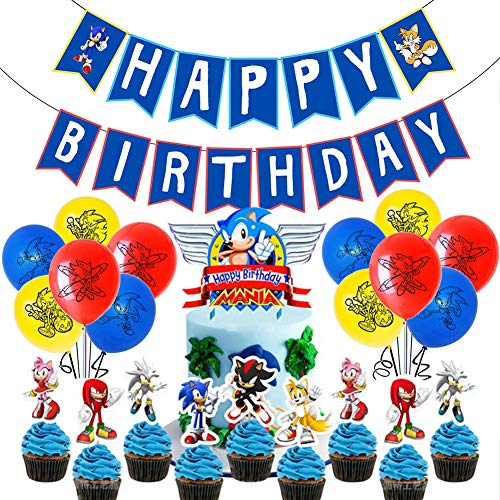 Sonic The Hedgehog Birthday Party Supplies Pack Includes Banner Cake Topper 24 Cupcake Toppers 18 Balloons For Sonic Party Supplies Wantitall