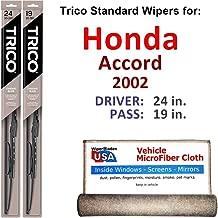 Wiper Blades for 2002 Honda Accord Driver & Passenger Trico Steel Wipers Set of 2 Bundled with Bonus MicroFiber Interior Car Cloth