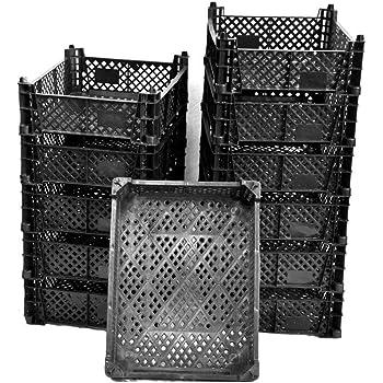 Cajas apilables de plástico con diseño de musgo, para almacenamiento, para verduras y frutas, juego de 12 unidades, color negro: Amazon.es: Jardín