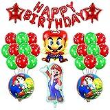 smileh Decoracion Cumpleaños Super Mario Globos Pancarta de Feliz Cumpleaños para niños Decoraciones de Fiesta Mario Bros