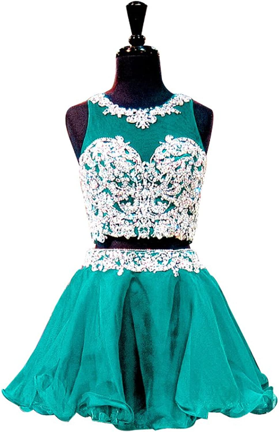 LISA.MOON Women's Jewel Neck Appliqued Two Pieces Tulle Short Homecoming Dresses