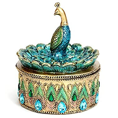 Bits and Pieces Beautiful Peacock Trinket Box - Keepsake and Jewelry Box