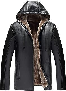 wuliLINL Men's Autum Winter Collar Sherpa Lined Suede Hooded Faux Leather Trucker Jacket Coats