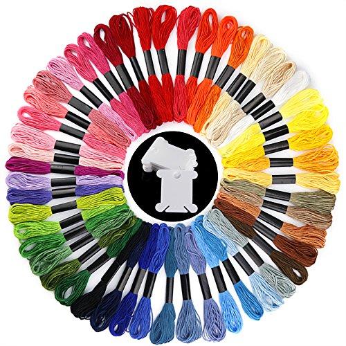 Pllieay 50 Madejas Arco iris Colores Hilos de Bordar de Hilos Cross Stitch Bordado con 12 Piezas Bordado de Plástico Hilo Bobinas de Hilo