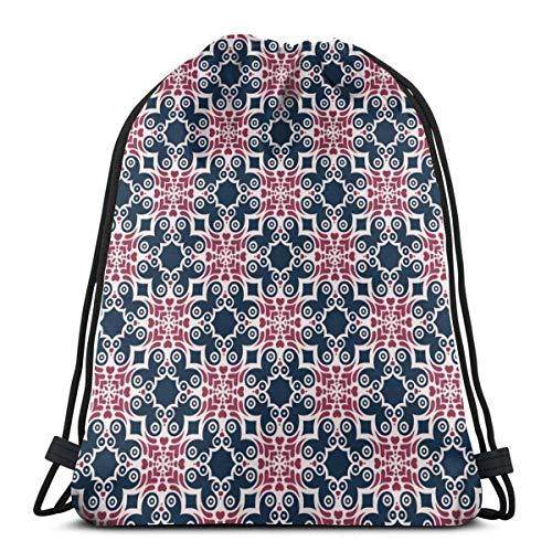 Hangdachang Bolsa de Deporte geométrica Azul Marino y Rosa con cordón Mochila Deportiva para Hombres y Mujeres Mochila de Viaje Escolar 36 x 43 cm / 14,2 x 16,9 Pulgadas