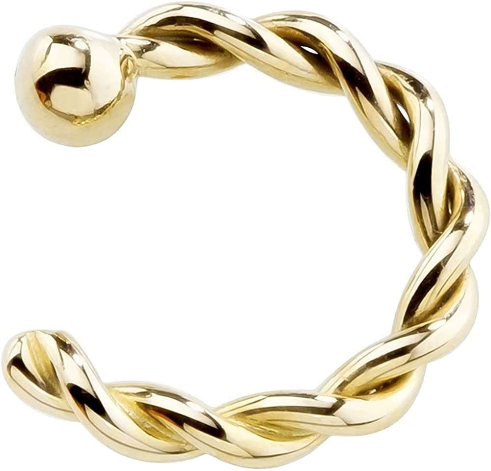 FreshTrends 18G 14K Yellow Free 5 ☆ very popular Shipping Cheap Bargain Gift Gold Twisted Nose Hoop Ring