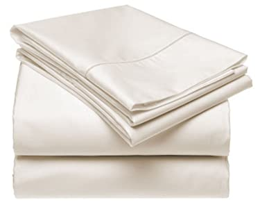 Luxurious 600 Thread-Count, 100% Cotton Soft, Comfortable, Breathable (Queen, Off White)