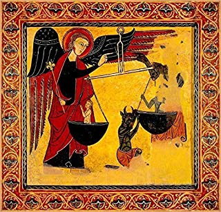 Coptic Michael Weighing Souls Canvas Icon Print. FREE PRIORITY SHIPPING!