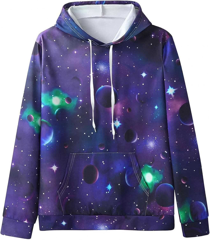 Qsctys Men's Sweatshirts Hoodies Crewneck 3D Print Fashion Hipster Gym Long Sleeve Drawstring Hooded Shirts Casual Pullover