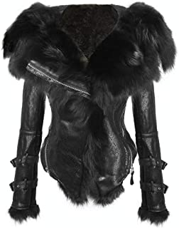 She'sModa Natural Real Fox Fur Collar Hoodie Slim Fit Women's Zipper Fleece Moto Jacket Winter Coat