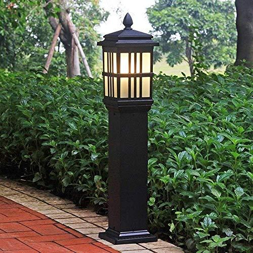 BTBAM Außenhof Stehlampe wasserdichter Aluminium Hohe Pole Pfosten Lichter E27 Außenzaun Glassäule Licht for Villa Veranda Garten Terrasse im Innenhof Pathway Straße (Color : Schwarz)