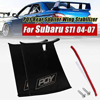 PQYRACING 2PCS Rear Spoiler Wing Stabilizer Compatible for Subaru STI 04-07 Spoiler Wing Stiffi Support Rally with PQY Logo