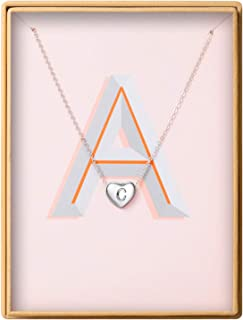 Dainty Initial Necklace S925 Sterling Silver Letters A-Z 26 Alphabet Heart Pendant Necklace for Women Mother's Day Gifts