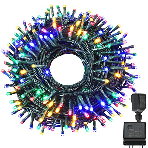 Holahome Led Christmas String Lights Outdoor Indoor - 115Ft 300 LED UL Certified 8 Modes End to End Plug - Multi Color Fairy Lights for Xmas Tree,...
