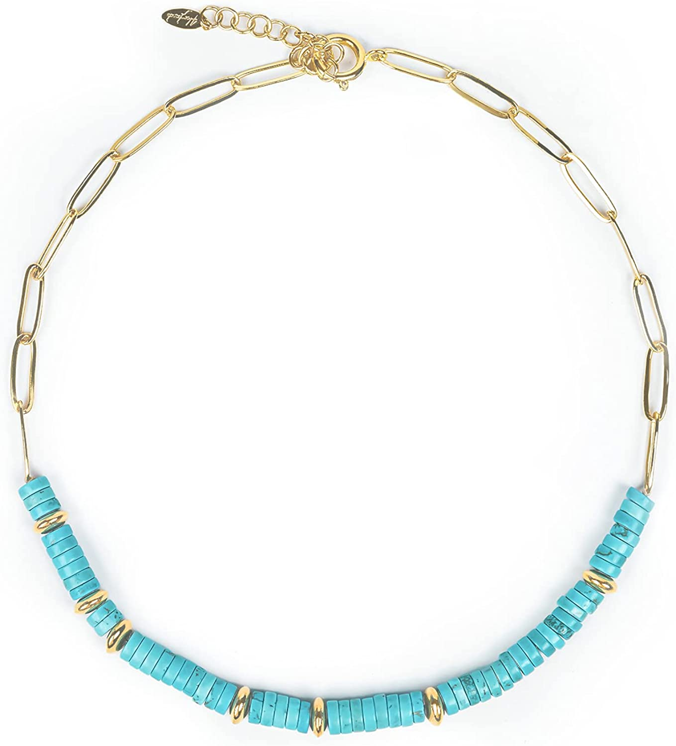 Emptizer Turquoise Stone Financial sales sale Necklace Choker SALENEW very popular! Gold Plated