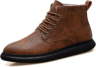 JIANFEI LIANG Men's Ankle Work Boot Casual Contracted Winter Faux Fleece Inside High Top High Quality Boot (Color : Khaki, Size : 44 EU)