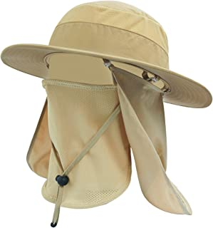 LETHMIK Sun Protection Fishing Hat Waterproof Summer Outdoor Wide Brim Sun Hat with Removable Face & Neck Flap