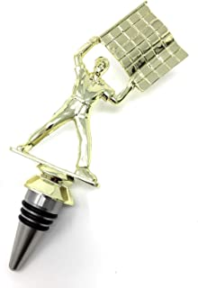 Racing Wine Bottle Stopper - Handmade with Stainless Steel Base and Repurposed Trophy Top