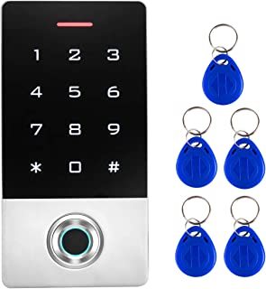 AMOCAM Semiconductor Fingerprint Password Access Control System with 5PCS ID Key Fobs, Biometrics Door Lock Keypad Control...