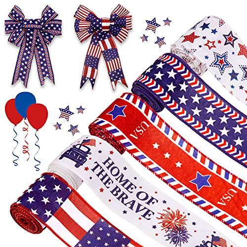 Whaline 5 Patriotic Ribbon Roll 4th of July Stars and Stripes Burlap Wired Edge Ribbon 25 Yards White Blue Red Decorative Ribbon for Independence Day Gift Wrapping DIY Wreath Bow Craft Sewing