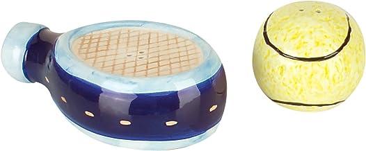 Navika USA Tennis Ball & Racquet/Colorful Ceramic Salt & Pepper Shaker Set, Yellow/Blue
