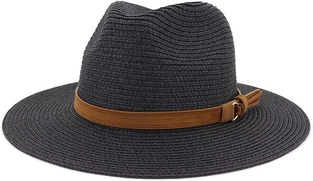 ADAHOP Unisex Outdoor Straw Hat Outdoor Beach Anti-Sun Shade Jazz Hat with Belt Buckle Wide Brim