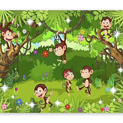 murando Fototapete Monkey Affe 400x280 cm Vlies Tapeten Wandtapete XXL Moderne Wanddeko Design Wand Dekoration Wohnzimmer Schlafzimmer Büro Flur für Kinder Kinderzimmer Dschungel e-C-0051-a-a