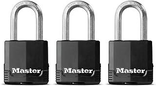 MASTER LOCK Heavy Duty Padlock [Key] [Covered Laminated Steel] [Weatherproof and Rustproof] [Medium Shackle] [Pack of 3] M...