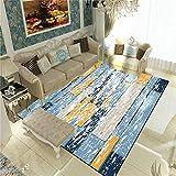 WQ-BBB Alfombra Salon Insonorizar Diseño de Rayas Amarillo Gris Azulado Jaspeado Decoracion habitacion Bebe 140X200cm