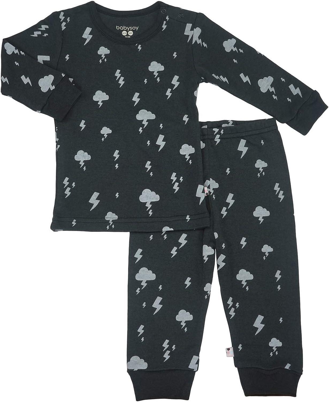 Babysoy Long Sleeve Soy Lounge Set - Organic PJS Playwear Sets (2T, Lightning-Pirate)