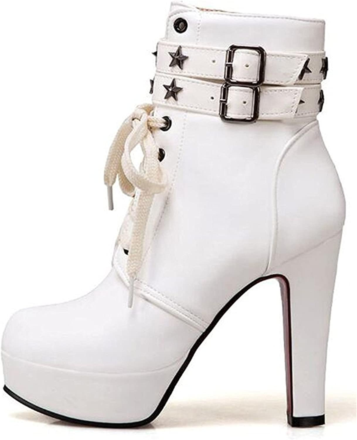 Robert Reyna Fashion Women's Studded Stars Buckled Straps Round Toe Chunky High Heel Platform Lace up Zipper up Ankle Booties