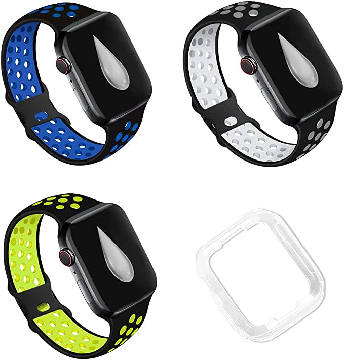 Watch Bands Wristband Silicone, MagicFox Compatible with Apple Watch Bands 38mm 40mm 42mm 44mm,3 Packs Sport Breathable Soft Silicone Replacement Straps Compatible for iWatch Series SE 6 5 4 3 2 1 Sport Edition Women Men (Free Transparent Protective Case Inside), sport-watch-bands-wristband-strap
