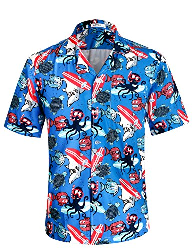 Men's Hawaiian Shirt 4 Way Stretch Relax Fit Funny-Octopus Tropical Shirts HWS013 2X