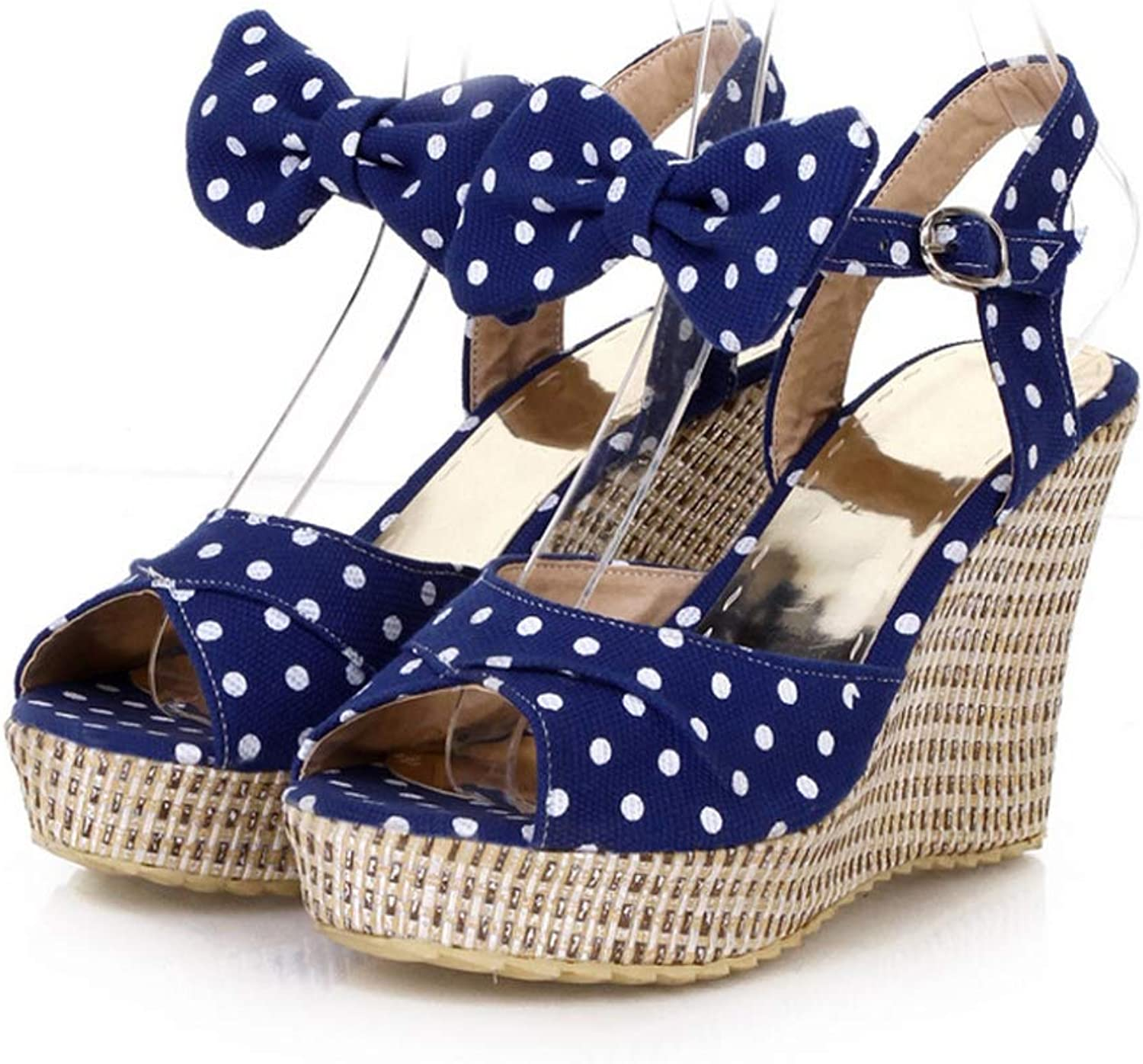 T-JULY Platform Wedge Sandal for Women Fish Mouth Buckle Strap Summer Fashion Comfortable Dot Bow Ladies shoes