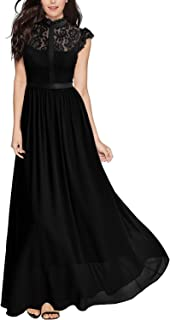 Women's Formal Floral Lace Cap Sleeve Evening Party Maxi Dress