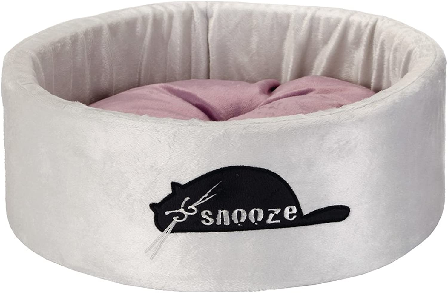 Beeztees Snooze Plush Rest Bed, 40 x 40 x 15 cm, Grey